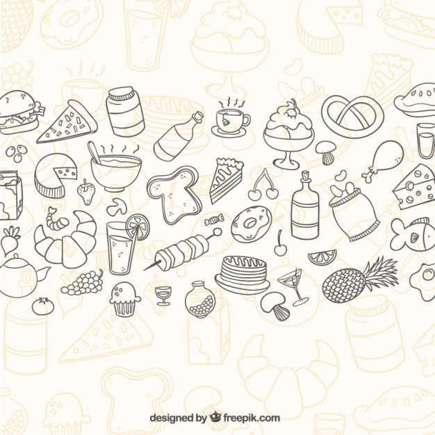 626x626 Sketchy Food Background Vector Free Download