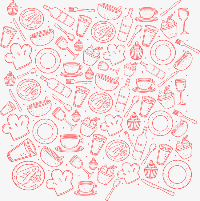 650x653 Vector Hand Painted Cartoon Food Background, Vector, Hand Painted