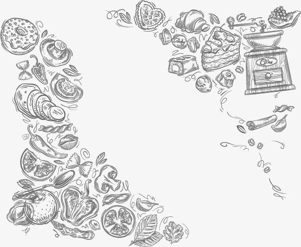 599x492 Cartoon Food Background Texture, Cartoon Vector, Food Vector