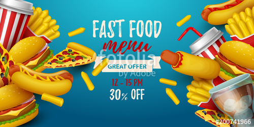 500x250 Colorful Fast Food Background. Vector Illustration Stock Image