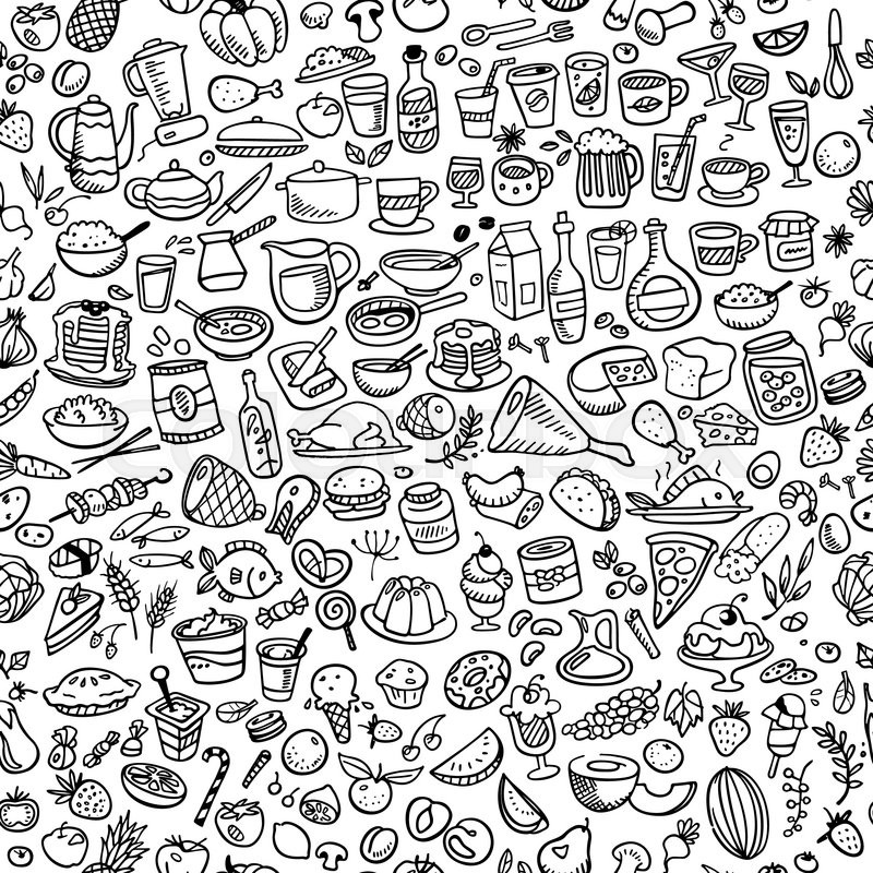 800x800 Doodle Food Icons Seamless Background Stock Vector Colourbox