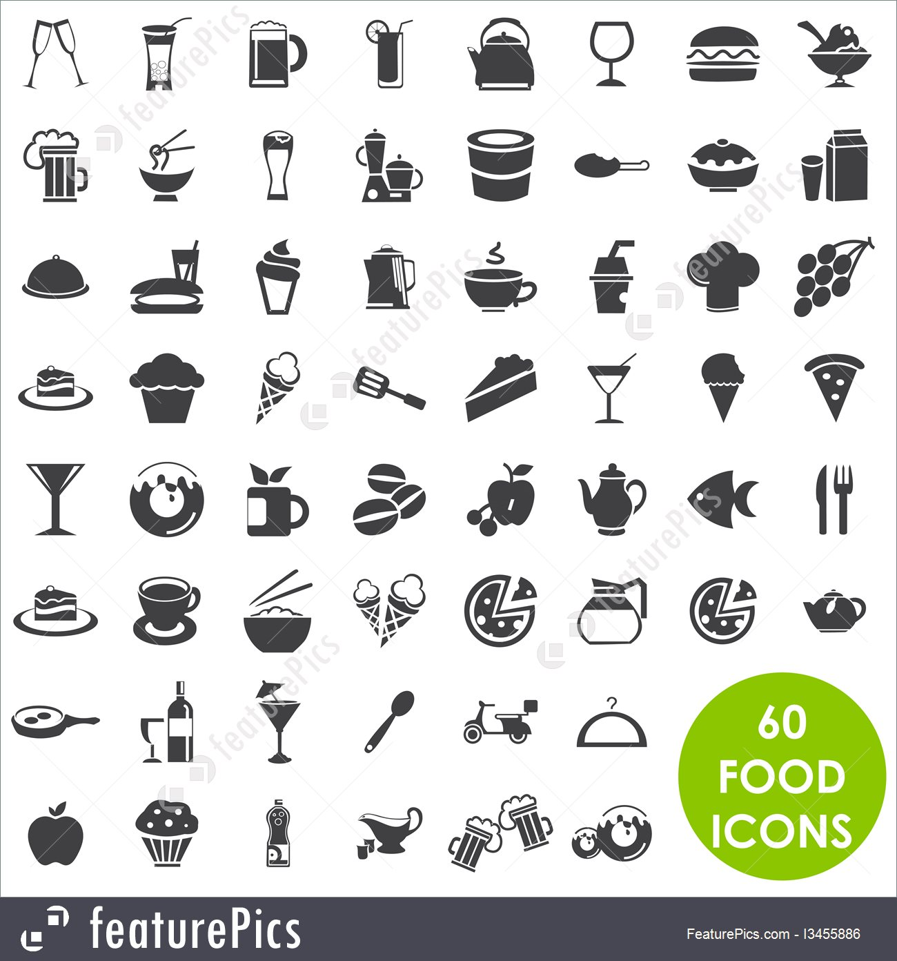 1300x1392 Emblems And Symbols Food And Drink Icons Vector