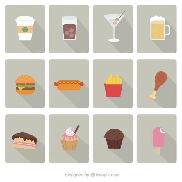 626x626 Fast Food Icons Set Vector Free Download