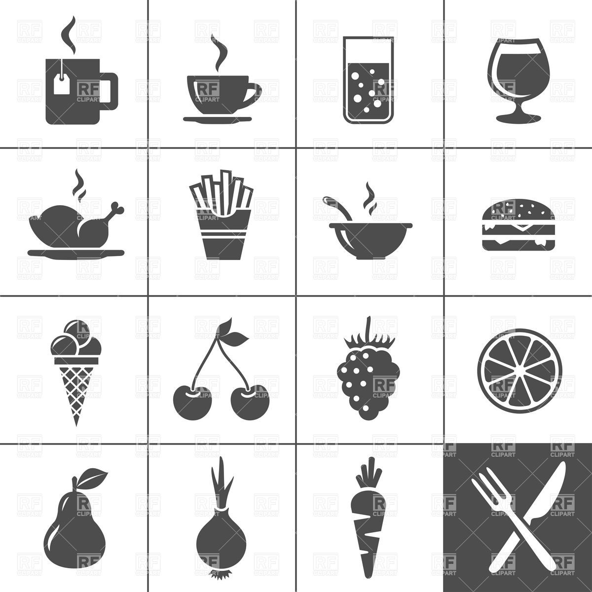 1200x1200 Fast Food Restaurantand Beverages Icon Set Vector Image Vector