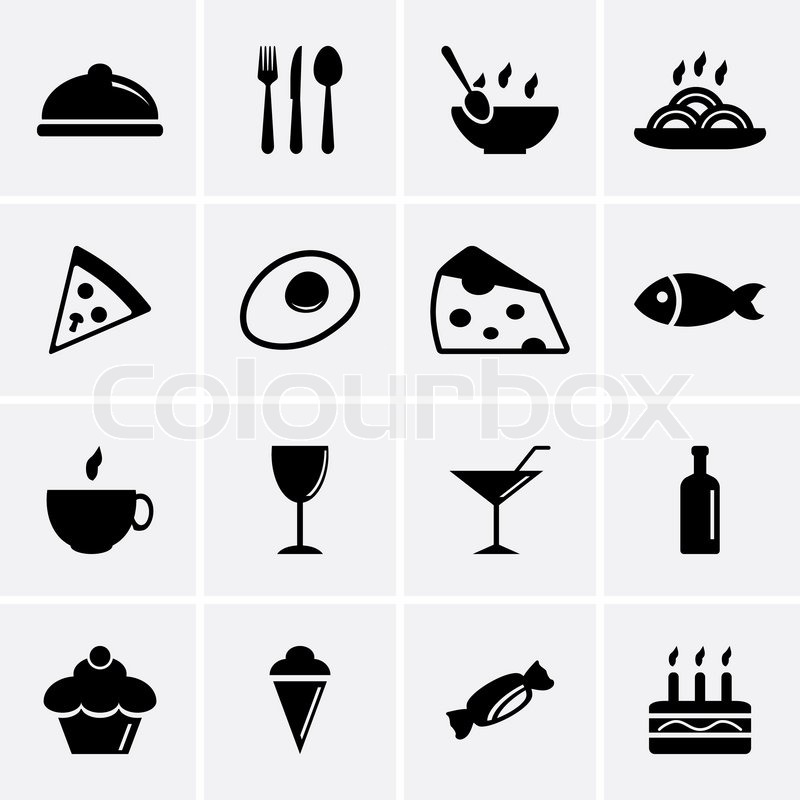 800x800 Food And Drink Icons. Vector Stock Vector Colourbox