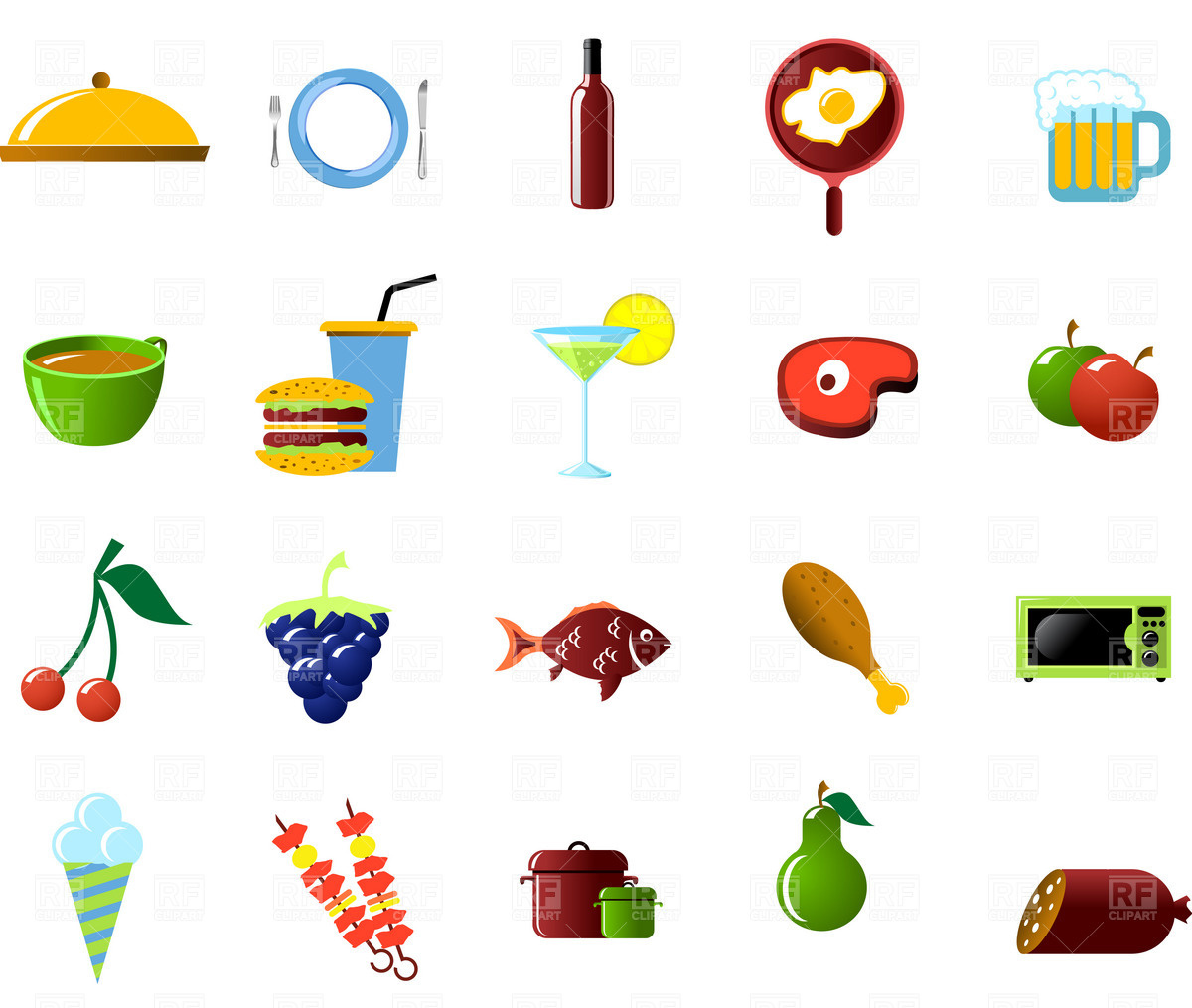 1200x1015 Food And Cooking Icons Set Vector Image Vector Artwork Of Food