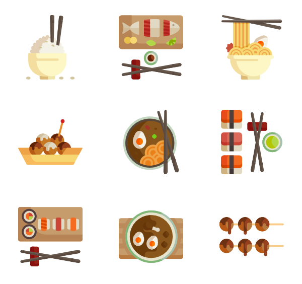600x564 Japanese Food Icons