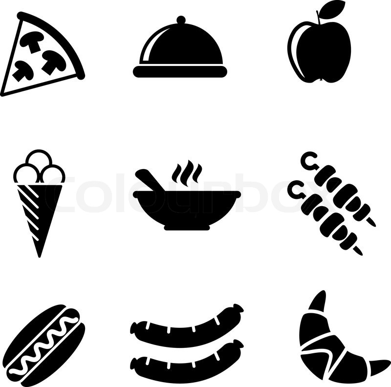 800x792 Set Of Black And White Food Icons With A Slice Of Pizza, Dome
