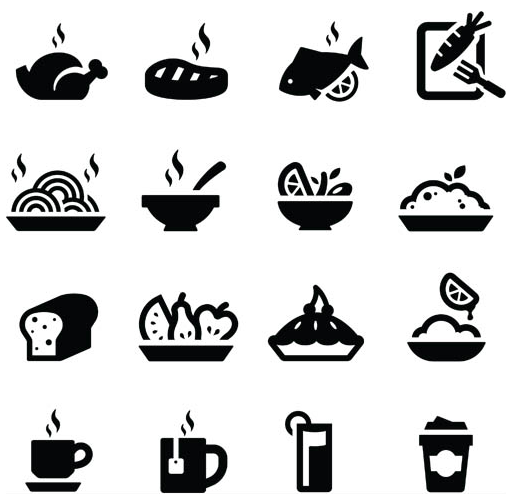 507x494 Silhouette Food Icons Vector Ai Format Free Vector Download