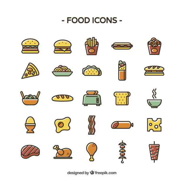 626x626 Colored Food Icons Vector Free Download