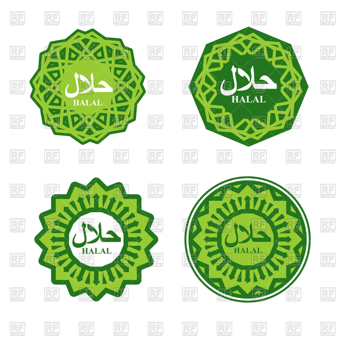 1200x1200 Set Of Green Halal Sign, Muslim Traditional Food Logo Vector Image