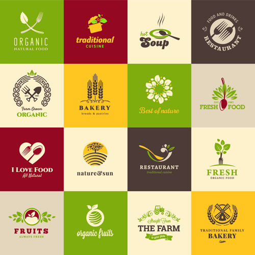 500x500 Creative Food Elements Logos Vector Material 01 Free Download