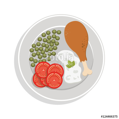 500x500 Food Plate Chicken Thigh With Peas Sliced Tomato Rice Vector