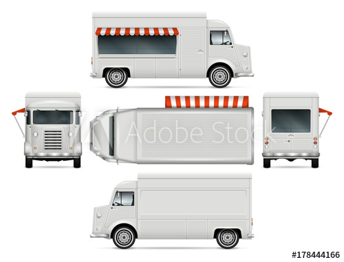 500x381 Retro Food Truck Vector Mock Up For Car Branding, Advertising And