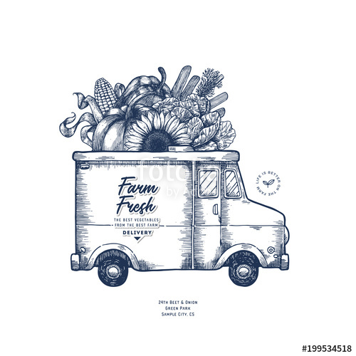 500x500 Farm Fresh Delivery Design Template. Classic Food Truck With