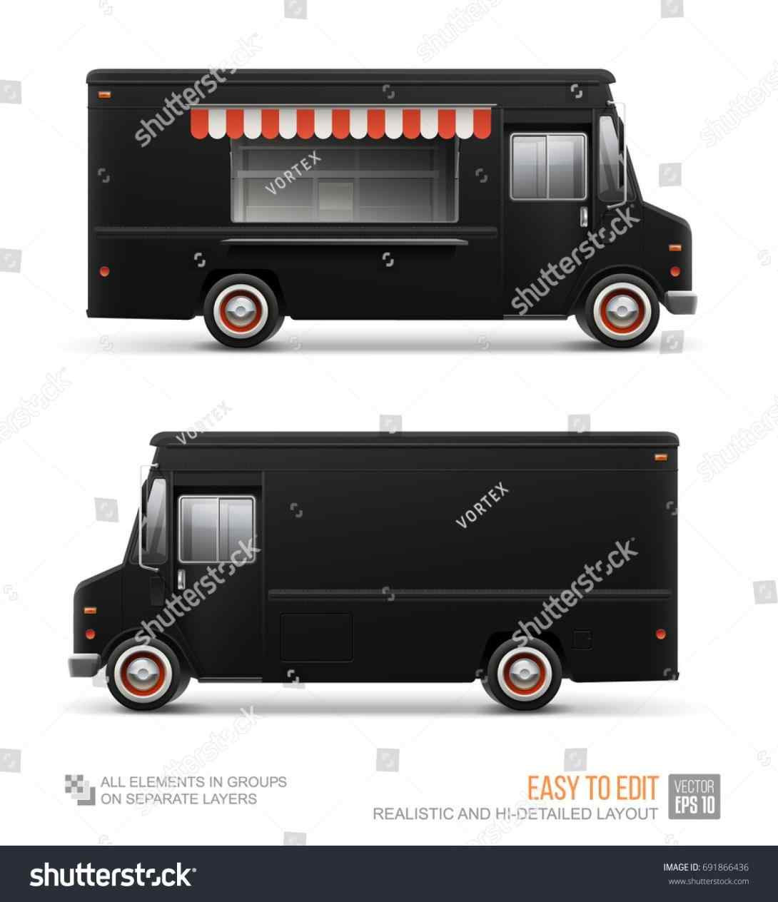 1090x1264 Food Truck Layout Template Vector Food Truck Corporate Identity