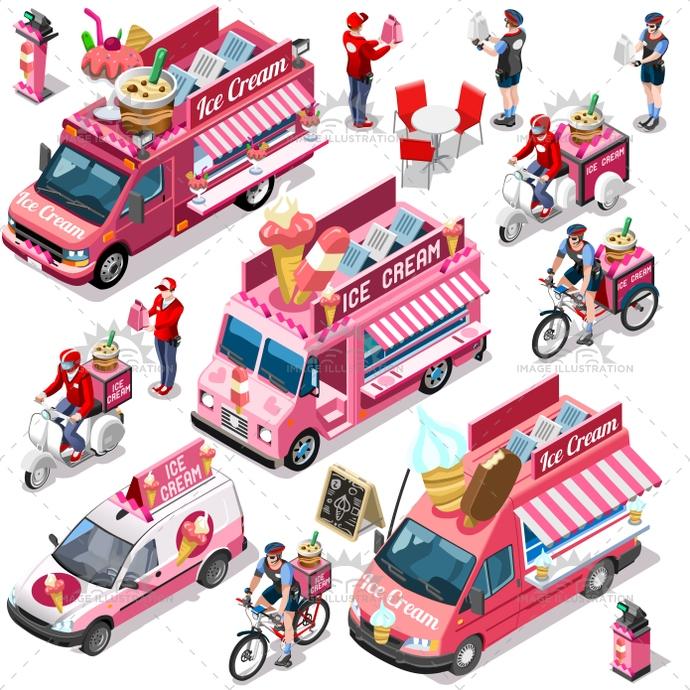 690x690 Food Truck Van Ice Cream Cart Vector Isometric Vehicle Bundle