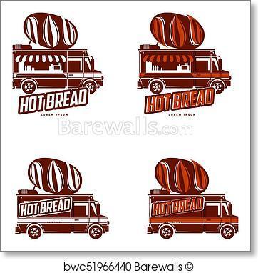 362x382 Art Print Of Food Truck Vector Logo Template Barewalls Posters