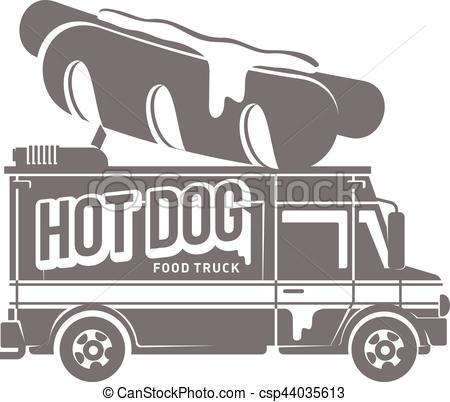 450x402 Food Truck Vector Flat Illustration. Food Truck Logo Vector