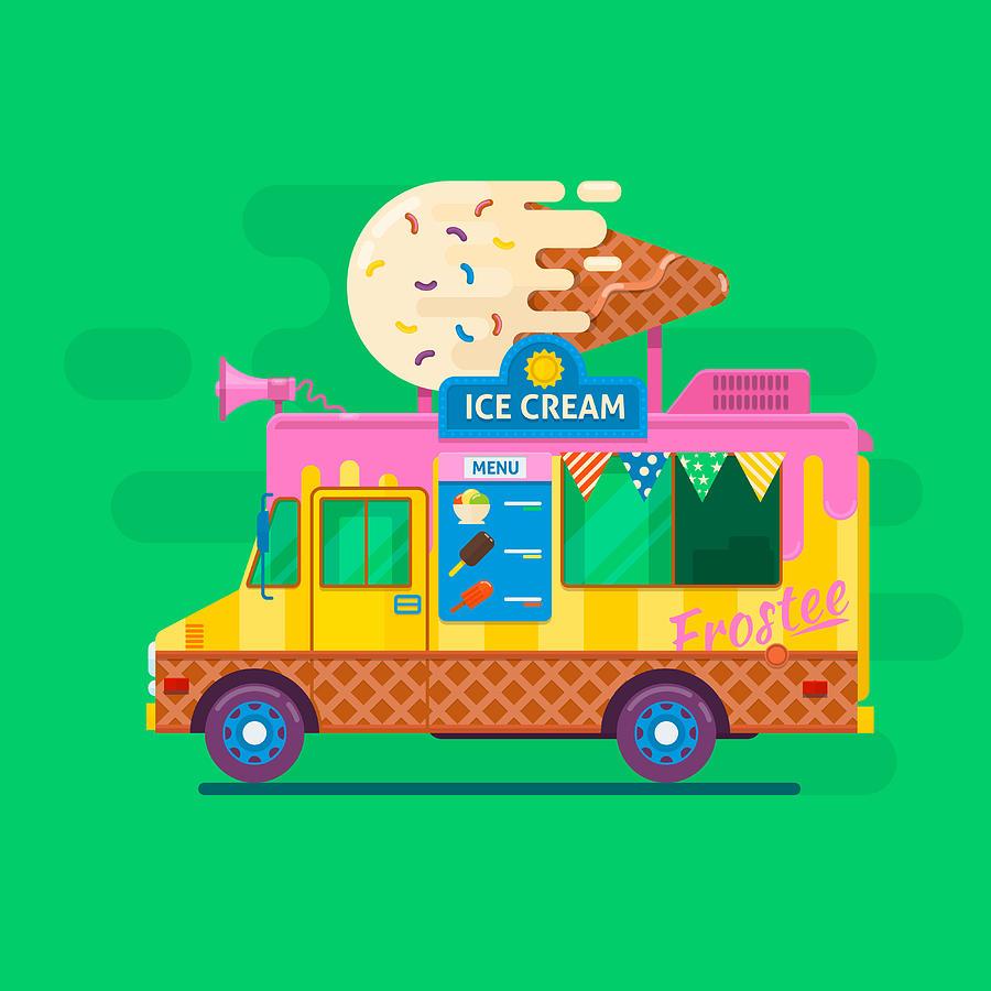 900x900 Ice Cream Van Delivery.street Food Truck Vector Illustration.flat