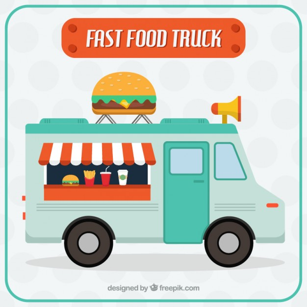 626x626 Nice Fast Food Truck Vector Free Download