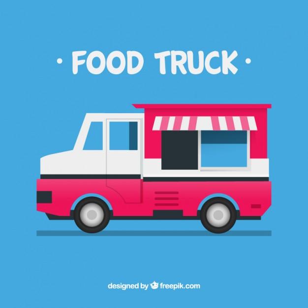 626x626 Pink Food Truck Vector Free Download