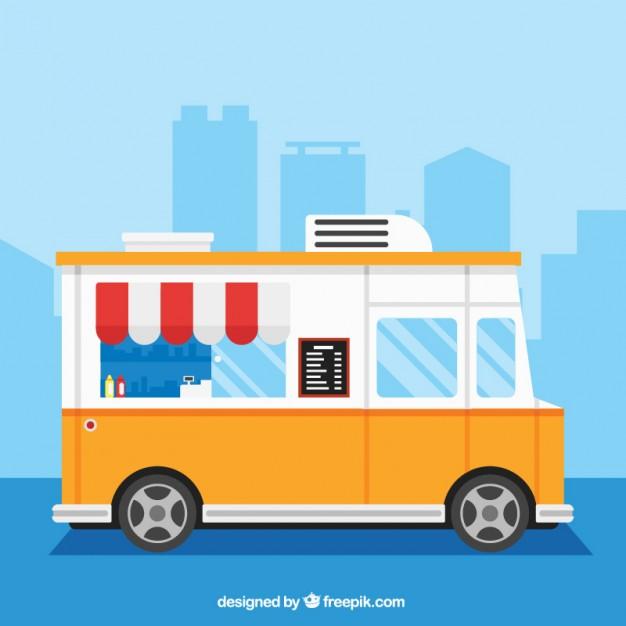 626x626 Yellow Food Truck Vector Premium Download