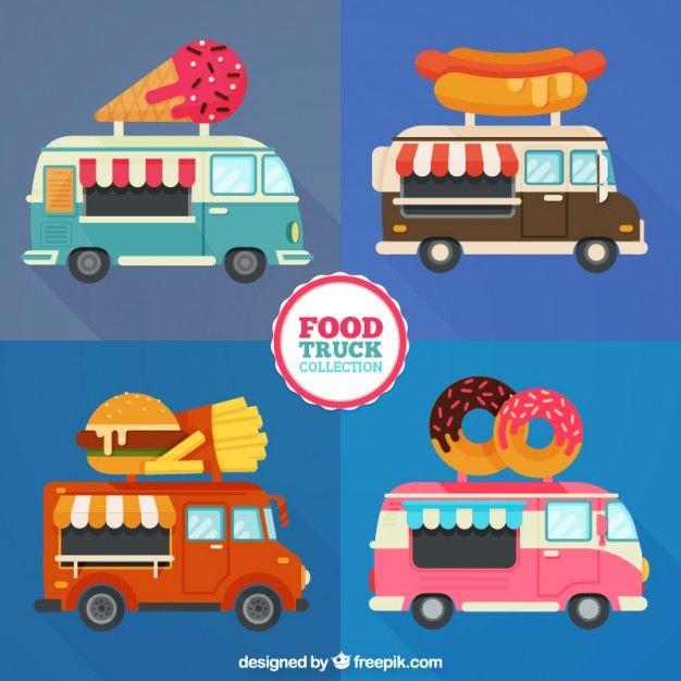 626x626 Different Food Trucks In Flat Design Free Vector Art Transport