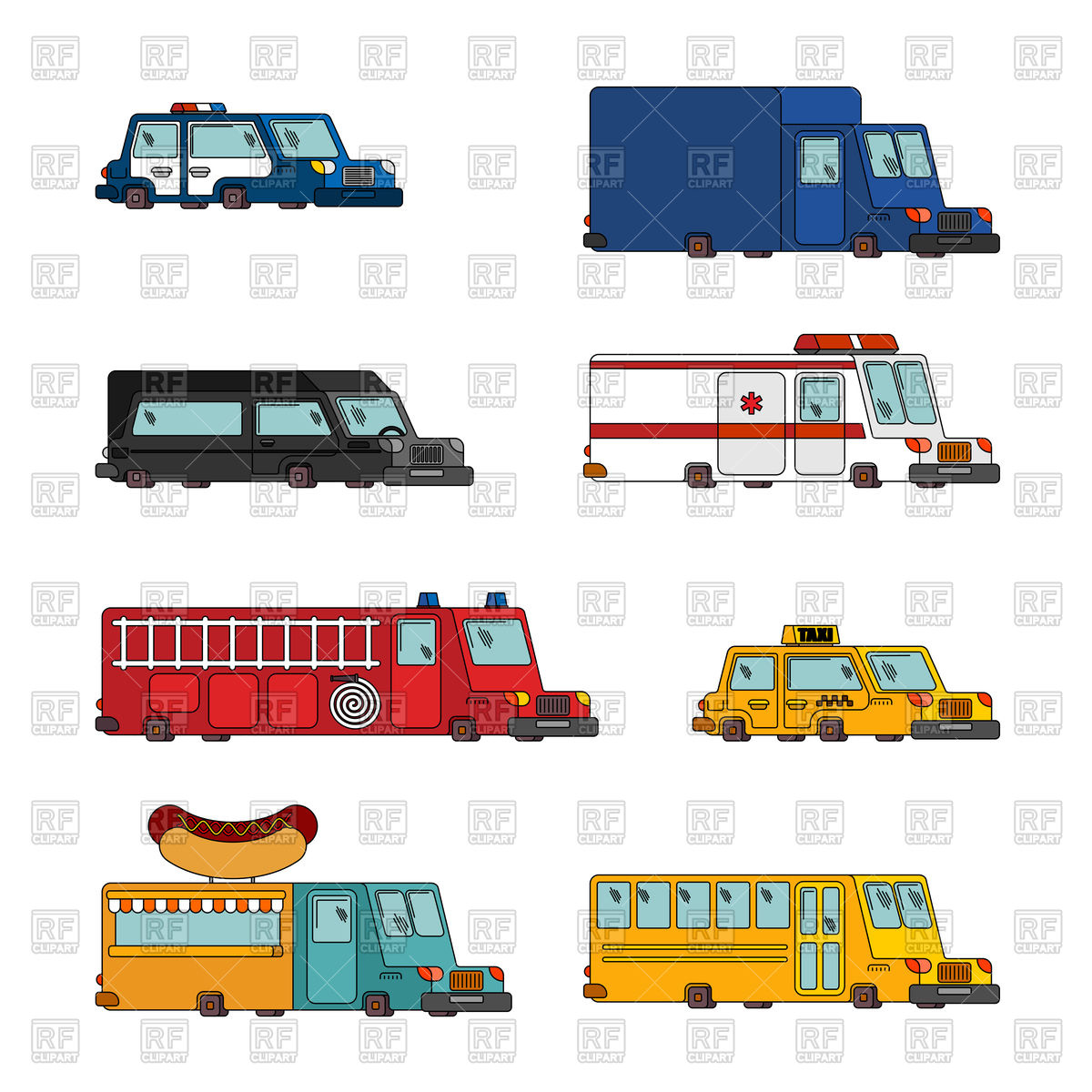 1200x1200 Fire Engine And Police Car. Ambulance And Taxi. Fast Food Truck