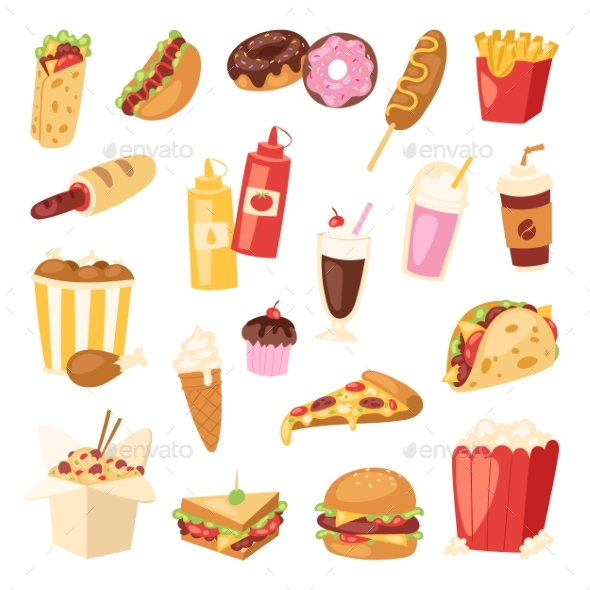 590x590 Fast Food Vector By Pantimetrok Graphicriver