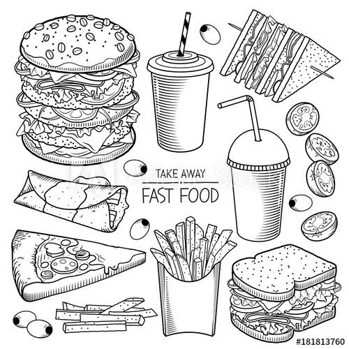 500x500 Fast Food Vector Illustrations