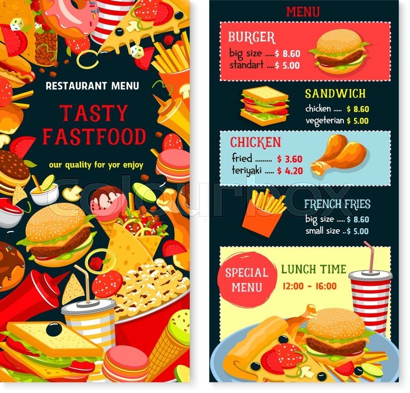 800x767 Fast Food Vector Menu With Prices And Lunch Time Combo Offer