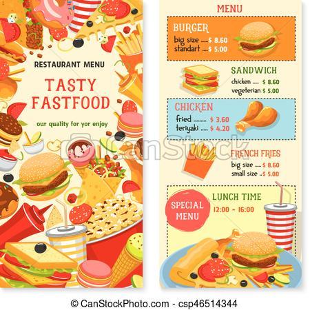 450x450 Fast Food Vector Templates For Restaurant Menu. Fast Food Menu