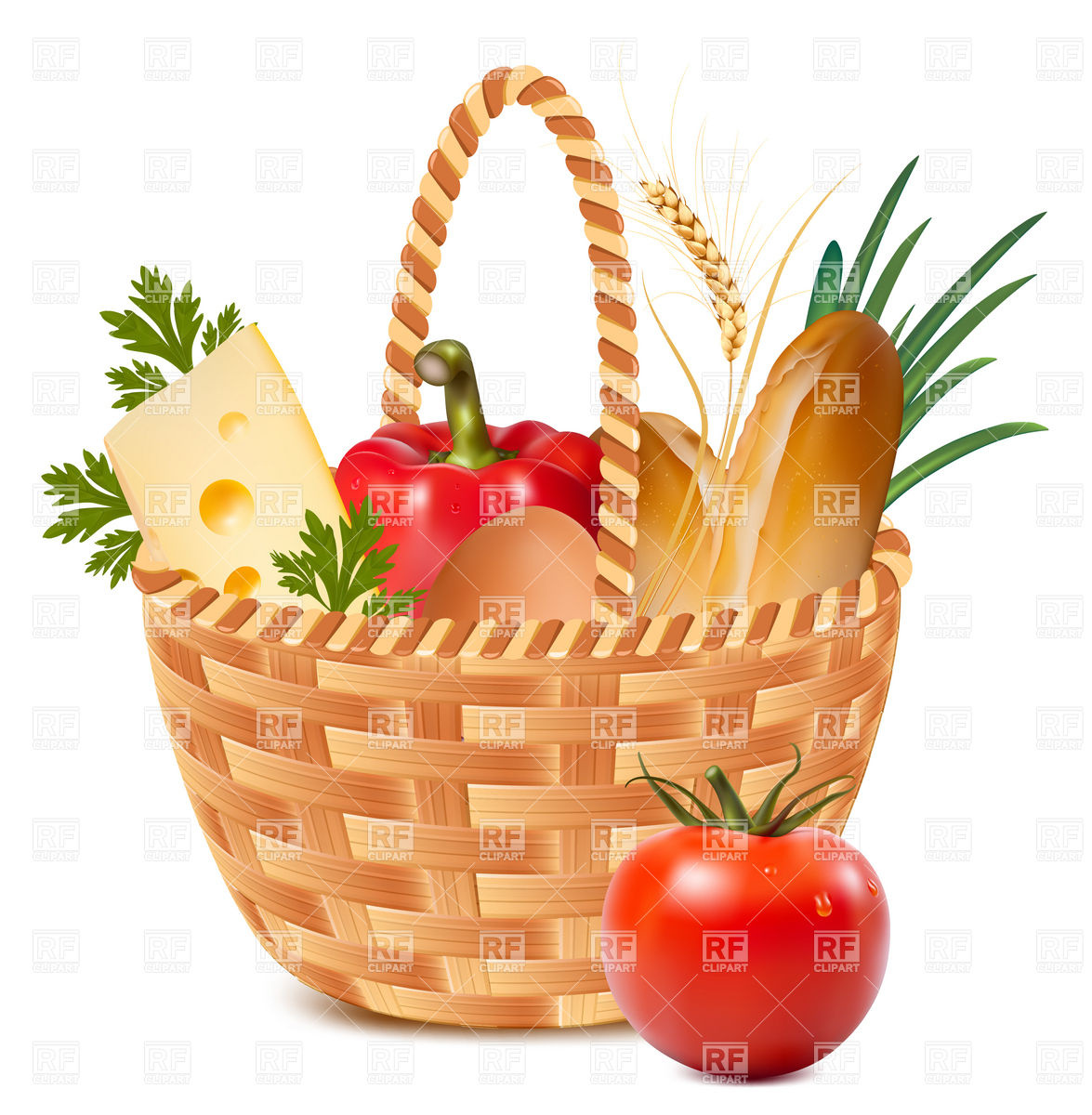 1175x1200 Basket Full Of Food Vector Image Vector Artwork Of Food And