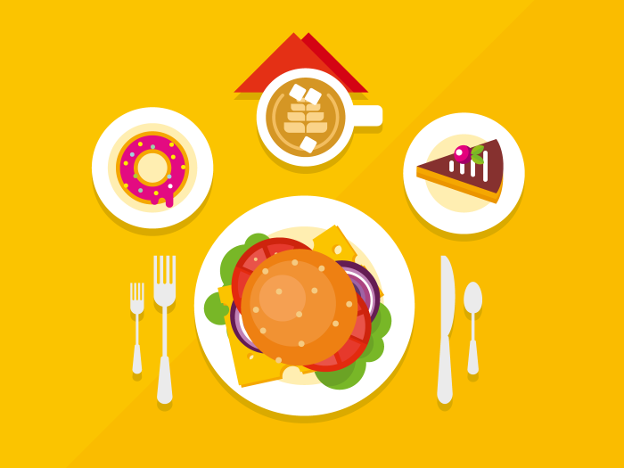 700x525 Food Objects On Table Flat Illustration