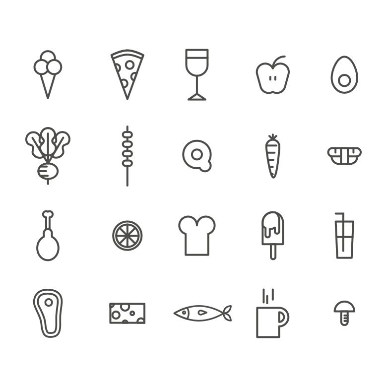 780x780 Outlined Food Vector Icons