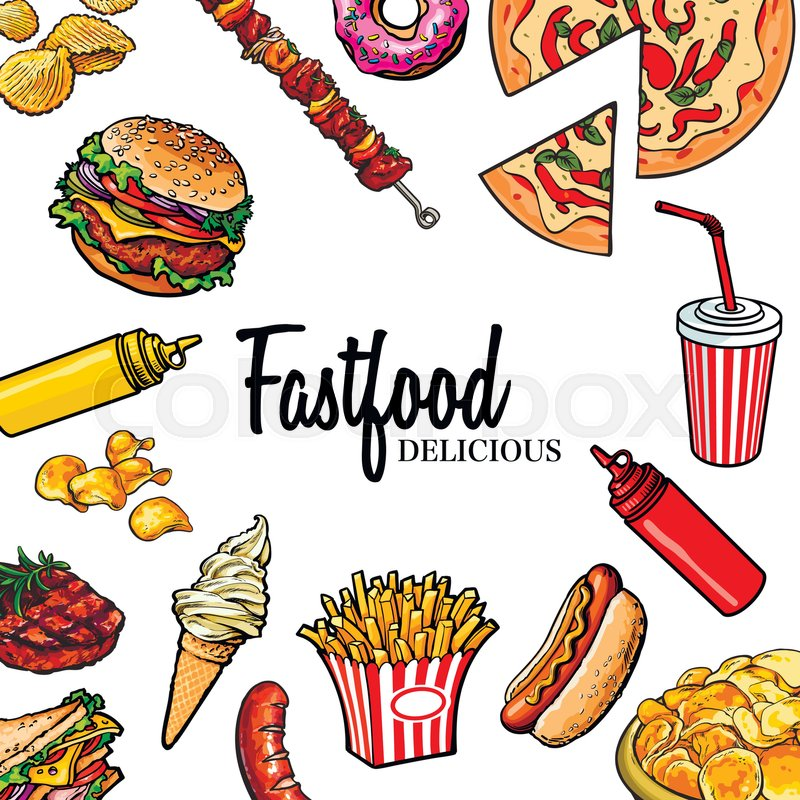 800x800 Sketch Style Hand Drawn Fast Food Vector Frame. Pizza, Burger, Hot