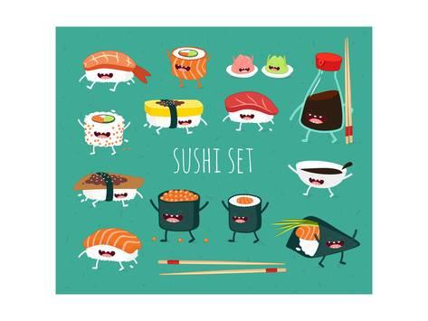 473x355 Sushi Set. Soy Sauce And Sushi Roll. Japanese Food. Vector Cartoon