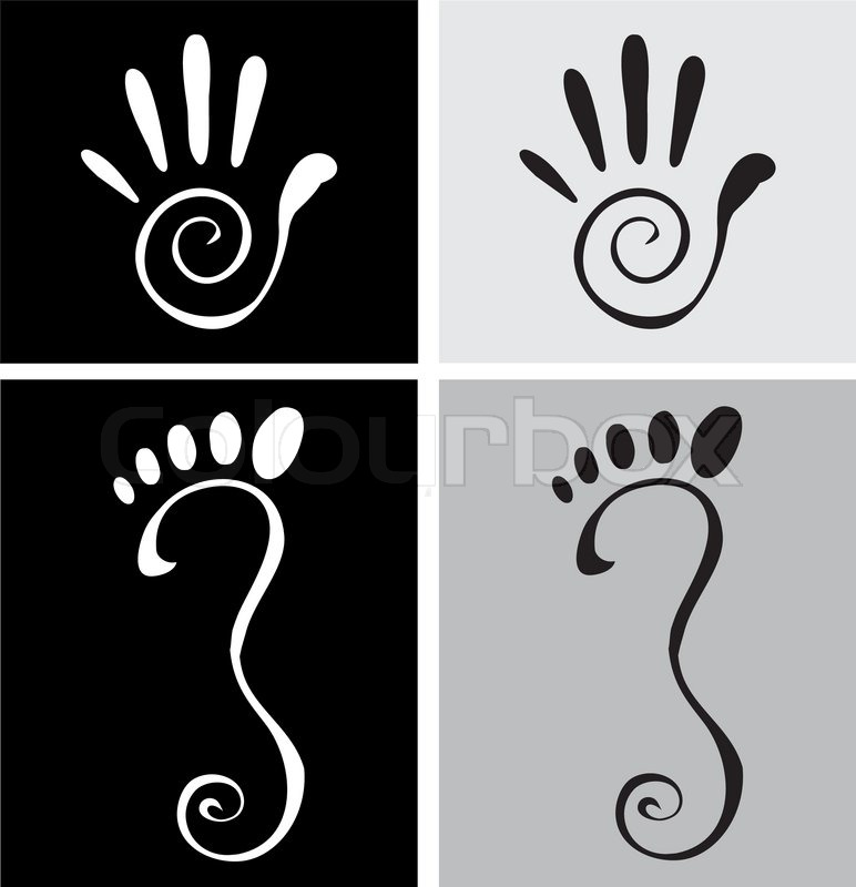 772x800 Vector Illustration Of Stylized Hand And Foot Stock Vector