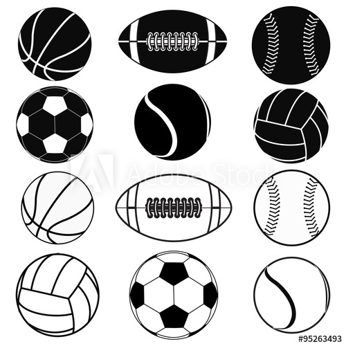 500x500 American Football Ball, Basketball Ball, Baseball Ball, Volleyball
