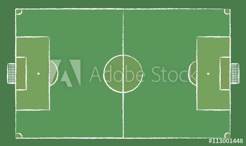 500x296 Football Field Or Soccer Field. Chalk Lines On A Board. Football