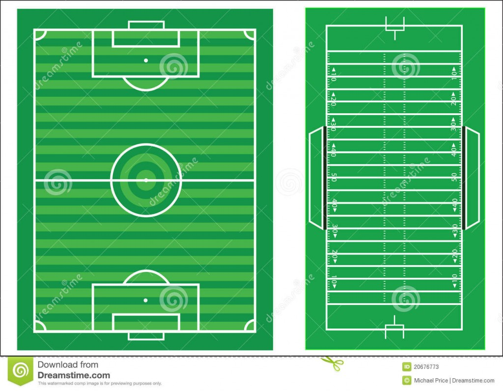 1024x795 Diagrams Scale Diagram Of Soccer And American Football Stock