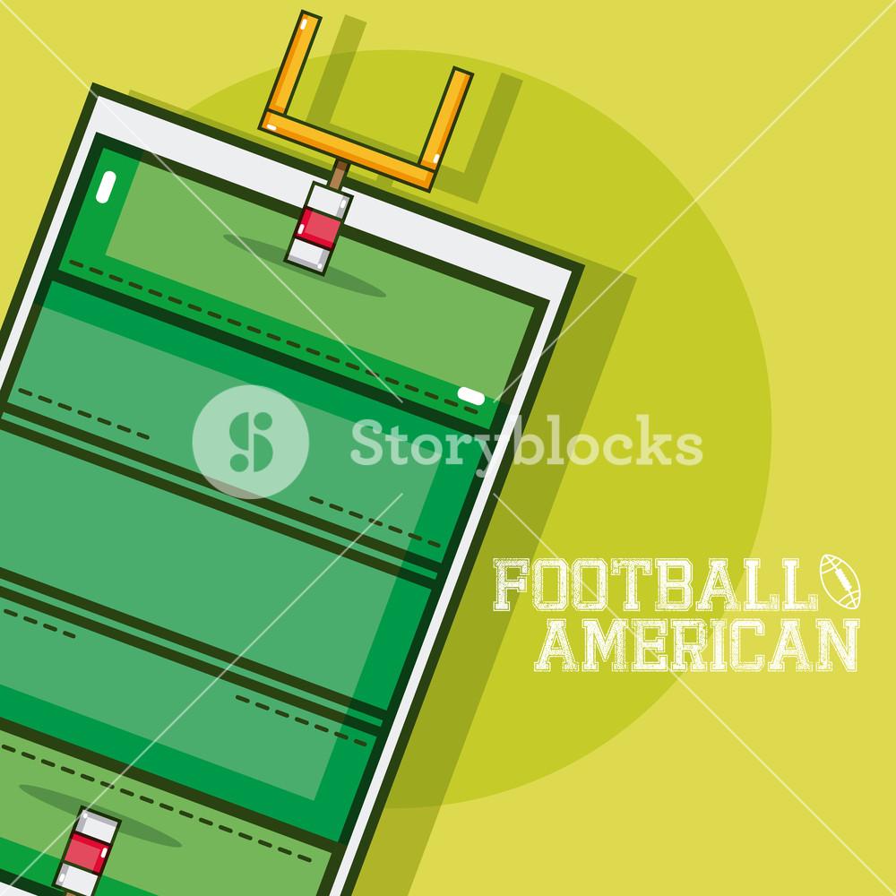 1000x1000 American Football Field Vector Illustration Graphic Design Royalty