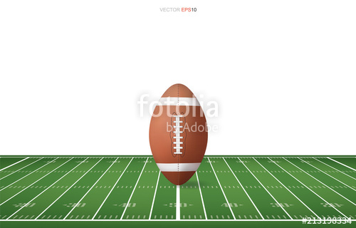 500x320 Football Ball On Football Field With Line Pattern Area For