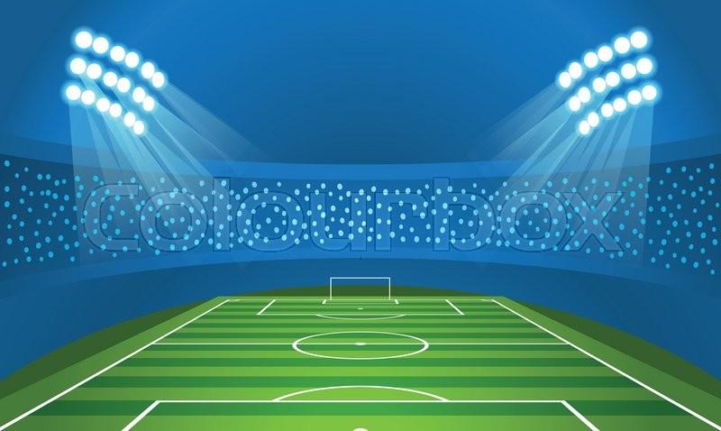 800x478 Light Stadium Mast Vector Illustration. Stadium With Green