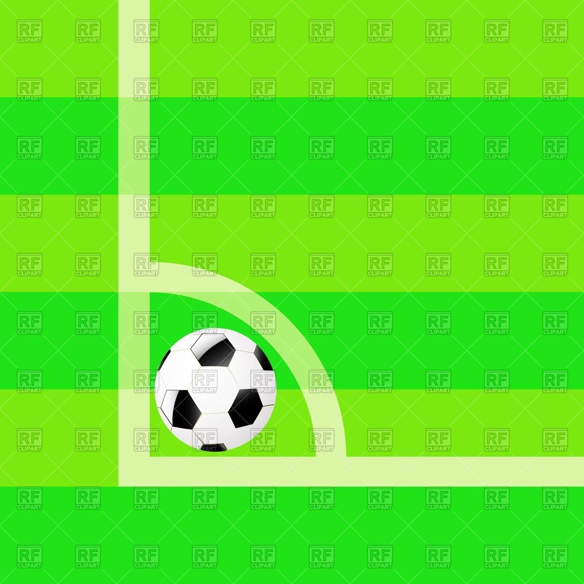 1200x1200 Soccer Ball In Corner Of Football Field Vector Image Vector