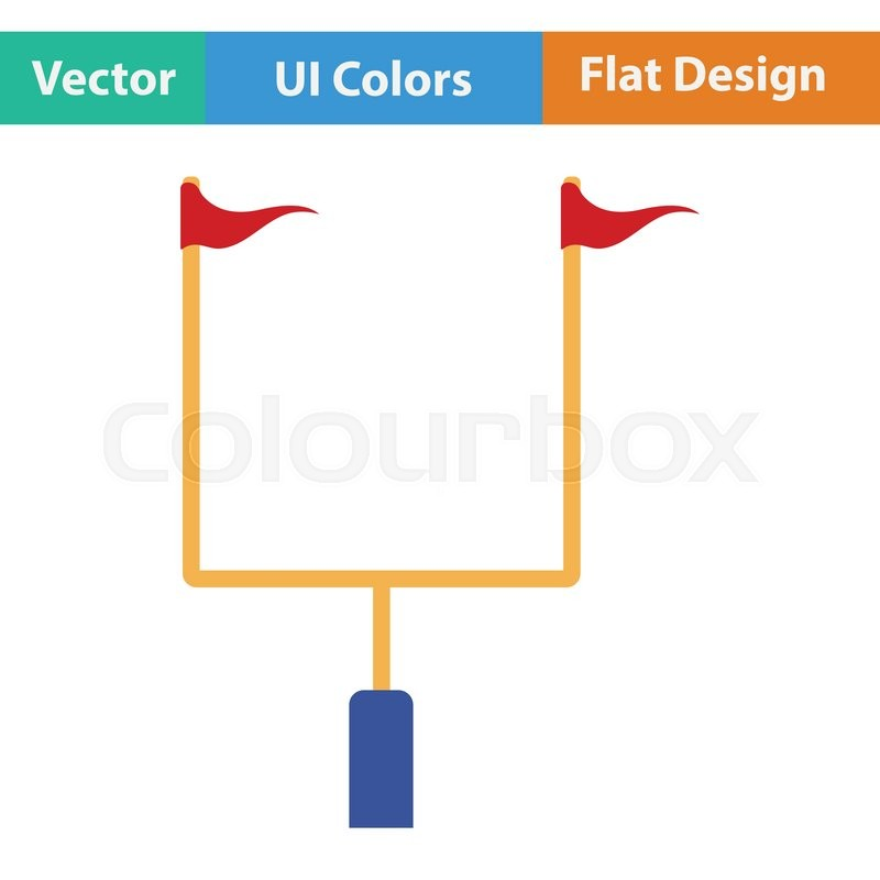800x800 American Football Goal Post Icon. Flat Color Design. Vector