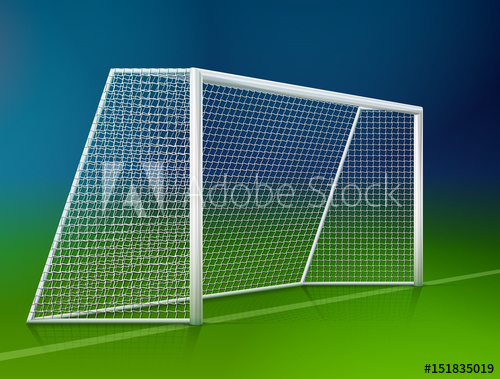 500x379 Soccer Goal Post With Net, Side View. Association Football Goal On