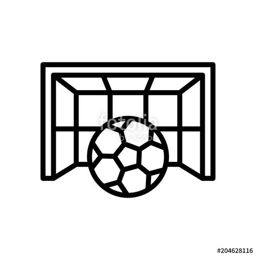 500x500 Football Goal Icon. Goalpost With Ball Illustration. Simple