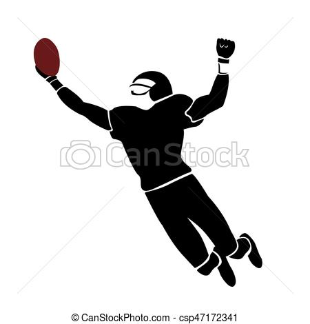 450x470 Isolated Football Player. Isolated Silhouette Of A Football Player